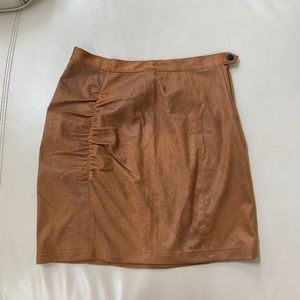 Free people mini skirt faux leather tan xs